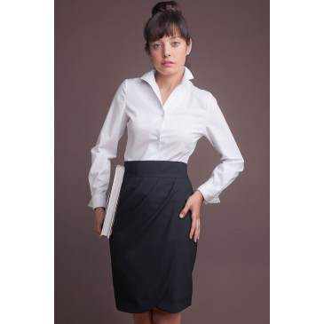 Camisa mujer M/L cuello tulipán