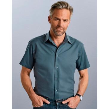 Camisa popelin manga corta hombre