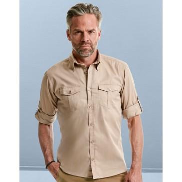 Camisa manga arremangada con bolsillos hombre