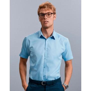 Camisa en espiguilla manga corta hombre