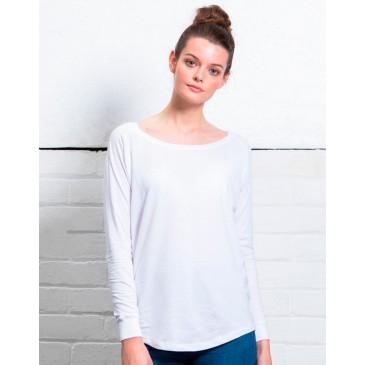 Camiseta holgada manga larga mujer