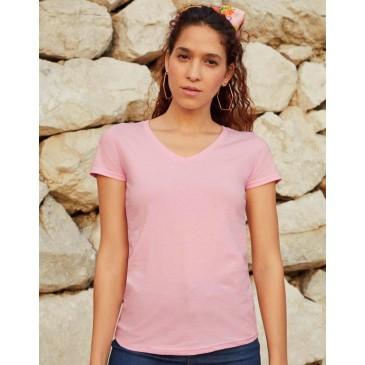 Camiseta cuello V Valueweight corte femenino
